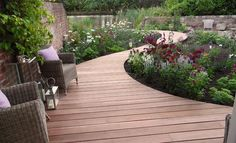 Silva Timber: Yellow Balau hardwood decking for lakeside garden 1 of 11 Wooden Pathway, Wooden Walkways, Wooden Garden, Back Gardens, Small Gardens, Outdoor Gardens, Veggie Gardens, Tropical Gardens, Garden Paths