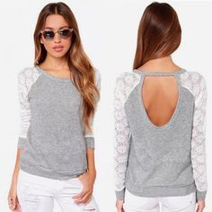 2015 Women Lace Blouse Backless Long Sleeve Embroidery Lace Crochet Shirt Plus Size Casual Tops Patchwork Blusas Femininas(China (Mainland)) Crochet T Shirts, Crochet Blouse, Lace Shirts, Shirt Blouses, T-shirt Au Crochet, Tee Shirt Dentelle, Diy Kleidung, Diy Mode, Shirt Embroidery