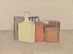 Giorgio Morandi, Natura morta, 1951 (Sotheby's) Still Life Drawing, Art Series, Italian Artist, Painting Inspiration, Painting & Drawing, Collage Art, Oil On Canvas, Modern Art, Illustration Art