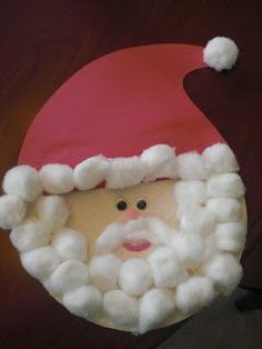 Here is another Santa craft that Mia and I did last year when she was 2 1/2. She really enjoyed using all the cotton balls!   Materials: pap...