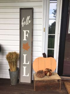 shop: Hello Fall / Fall Wood Sign / Fall Decor / Porch Signs / Pumpkin Signs / Hello Fall Sign / Wood Signs Excited to share the latest addition to my Fall Wood Signs, Diy Wood Signs, Fall Signs, Outdoor Wood Signs, Outdoor Decor, Outdoor Furniture, Fall Pallet Signs, Furniture Chairs, Garden Furniture