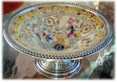 Broken China Mosaic on a Silver Cake Stand