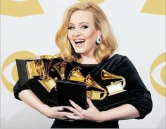 Great shot of Adele with her Grammys :)