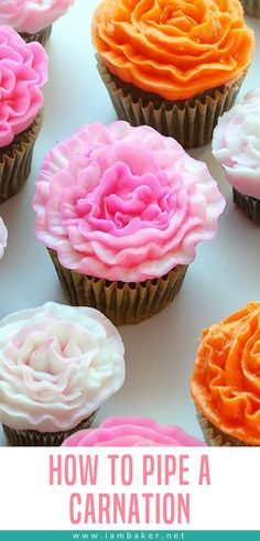 Piping out a carnation with buttercream frosting is not only easy, but it is fun… - Cake Decorating Writing Ideen Icing Recipe, Frosting Recipes, Buttercream Frosting, Cupcake Recipes, Cupcake Cakes, Dessert Recipes, Kid Cakes, Diy Cupcake, Book Cakes