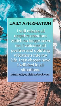 I will release all negative emotions...