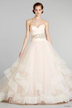 blush pink wedding dress princess cut lazaro bridal fall 2012