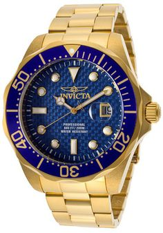 Invicta 14357 Watches,Men's Pro Diver Blue Textured Dial 18K Gold Plated Stainless Steel, Men's Invicta Quartz Watches