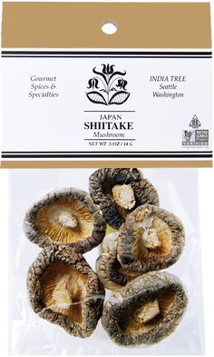 Shiitake mushrooms are grown in Japan, where they are planted on logs of oak and other trees, one of them the shii--thus the name shiitake or shii mushroom. The Chinese were probably the first to cultivate the shiitake. Dried Mushrooms, Stuffed Mushrooms, Specialty Foods, Logs, Spices, Trees, Chinese, Asian, India