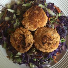 """Salmon cakes over sautéed cabbage! Another one of my quick and easy faves!! #nofilter #fatloss #weightloss #loseweight #goals #paleo #primal…"""