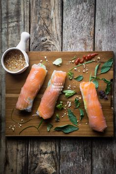 Smoked Salmon Fresh Spring Rolls. Smoked salmon along with vermicelli noodles, vegetables and herbs are wrapped in Vietnamese rice paper