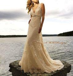 Beautiful Lace Wedding Dress- BRAND NEW! Size 6 and 8 :  wedding ceremony champagne wedding dress ivory ivory wedding dress lace wedding dress wedding dress wedding gown 2644f6e87c04a6948955dd41552c48c6