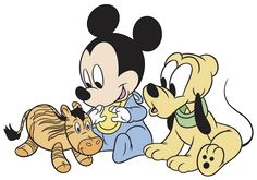 Baby Mickey, Pluto Playing With Toy - Disney Babies - Disney's Famous Characters in 4 sizes Embroidery - Mickey Mouse Images, Mickey Mouse And Friends, Baby Mouse, Cute Mouse, Online Coloring Pages, Adult Coloring Pages, Baby Disney Characters, Disney Princesses, Disney Clipart
