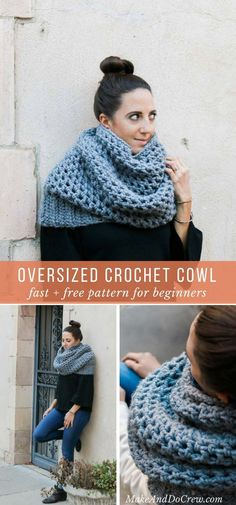 This quick crochet cowl pattern uses a simple, drapey stitch and chunky yarn to make a show stopping oversized scarf. Free crochet pattern for beginners. via @makeanddocrew #crochetcowlpattern #freecrochetpattern #easycrochet #lionbrandyarns