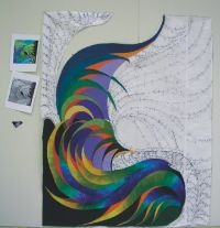 Feather Study #30 © 2007 art quilt by Caryl Bryer Fallert, Paducah KY