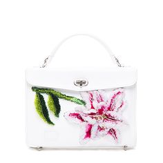 White vegetable tanned leather handbag with 3D lily embroidery handcrafted in the Yunnan and Dali region. Made in England.