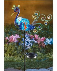 """Love this website for lawn """"art"""" products>>Solar Lighted Peacock Decorative Metal Garden Stake Decorative Garden Stakes, Decorative Metal, Sun Jar, Solar Powered Led Lights, Solar Led, Solar Licht, Peacock Decor, Peacock Art, Lawn Ornaments"""