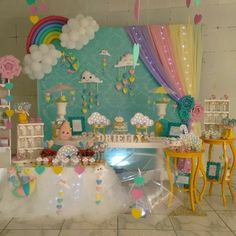 Birthday Party Rainbow Theme Baby Shower 16 Ideas For 2019 Rainbow Theme Baby Shower, Rainbow Birthday Party, Unicorn Birthday Parties, Unicorn Party, Baby Birthday, Baby Shower Themes, Rainbow Party Decorations, Birthday Party Decorations, Cloud Party