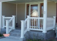 Railing Designs For Front Porch Front Porch Railings Incredible Vinyl Railing Ideas For Porches And Decks 6 White Intended Steel Railing Designs For Front Porch Porch Railing Designs, Railing Design, Porch Steps, House With Porch, Front Porch Railings, Porch Design, Porch Remodel, Building A Porch, Wooden Porch
