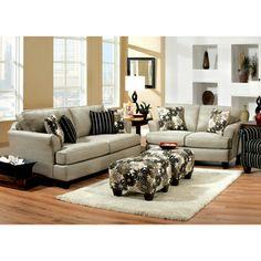 Florise Contemporary 2-Piece Plush Sofa-Love Set
