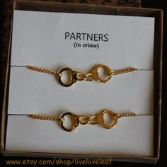 Partners in crime matching Best Friends Bracelets - Gold Handcuffs Bracelet, handcuffs charm bracelet, love bracelet handchain BFF jewelry