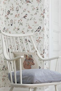 Falsterbo Birds by Boråstapeter - Taupe, Grey and White - Wallpaper : Wallpaper Direct Interior Wallpaper, Old Wallpaper, Cottage Stairs, Grey And White Wallpaper, Cosy Corner, Designer Wallpaper, Girls Bedroom, Retro, Decoration