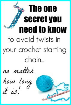 This is so simple - why didn't I think of this. Seriously, life changing for people who love to crochet. einfach How To Avoid Twists In Long Crochet Chains - Crochet News Beginner Crochet Tutorial, Crochet Stitches For Beginners, Crochet Instructions, Crochet Stitches Patterns, Crochet Videos, Crochet Basics, Crochet Tutorials, Crochet Edgings, Cross Stitches