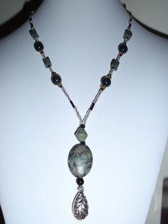 Beaded gemstone necklace green black silver toggle heart Russian Serpentine (O). $12.00, via Etsy, BaileyBeadz