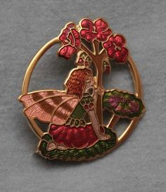 CLOISONNE FAIRY BROOCH