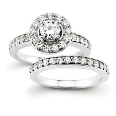Certified 1.60 Ct. Halo Style Diamond Bridal Engagement Ring Set in 14K White Gold