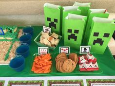 Minecraft birthday party food! See more party ideas at CatchMyParty.com!
