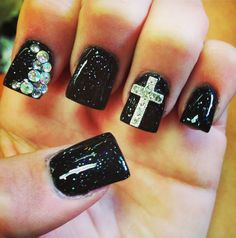 2014 Creative Symbolic Gel Nail Designs. Love the cross design. But the little pieces on the finger next to the thumb, not so much.