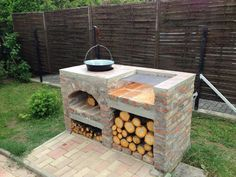 Brick Built Bbq, Brick Grill, Outdoor Kitchen Patio, Outdoor Kitchen Design, Outdoor Grill Station, Outdoor Barbeque, Fire Pit Grill, Rustic Outdoor, Backyard Patio