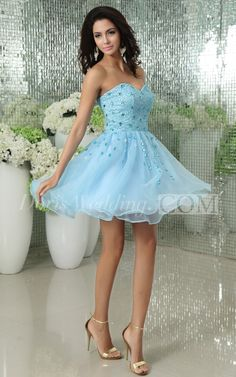 Organza Sweetheart Short Dress With Beading Embellishment