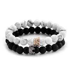 """Universe of goods - Buy """"Trendy Black White Stone Beads with Gold Silver Color Alloy Crown Bracelet For Women Men Couple Bangles Jewelry"""" for only USD. Bracelets Design, Bracelets Fins, Summer Bracelets, Couple Bracelets, Bracelets For Men, Fashion Bracelets, Fashion Jewelry, Women Jewelry, Fashion Fashion"""
