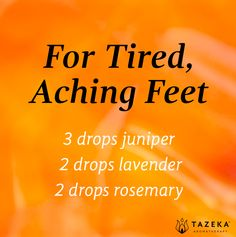 Essential oil blend for tired, aching feet Essential Oil Diffuser Blends, Doterra Essential Oils, Natural Essential Oils, Aroma Diffuser, Arthritis, Doterra Oils, Living Oils, Young Living, Oil Recipe