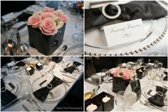 Real Wedding by Divine Weddings & Events . Somsamay and Jason . The Fort Garry Hotel . Black and white classic wedding with anemones and blush pink roses, silver beaded charger plates, rhinestone napkin rings.  Photo by Nghia Tran Photography