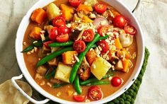 Pumpkin and eggplant massaman curry recipe - By Woman's Day, Put a healthy twist on this traditional Indian coconut-based curry by packing it full of nutritious vegetables. Here, we've swapped the meat for pumpkin and eggplant, creating a flavour-packed vegetarian dinner option.