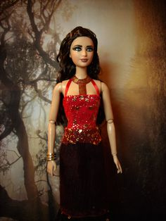 """Katniss Everdeen in Chariot Parade Dress Repainted/Hair Restyled Barbie Doll and Costume from """"The Hunger Games: Catching Fire"""" - by Morgan May @ Stardust Dolls - http://www.stardustdolls.com"""