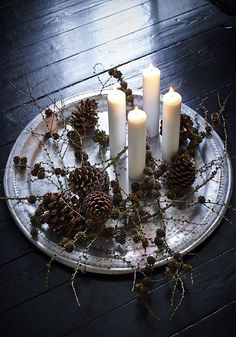 candles & pine cones ~ simple, beautiful