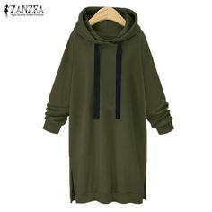 Fashion ZANZEA Women Hooded Long Sleeve Drawstring Casual Split Loose Long Sweatshirt Dress Solid Pullover Vestido Plus Size