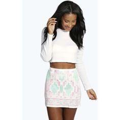 Boohoo Rita Aztec Embroidered Skirt (5.27 CAD) ❤ liked on Polyvore featuring skirts, white, a line midi skirt, bohemian maxi skirt, knee length maxi skirt, white skirt and white knee length skirt