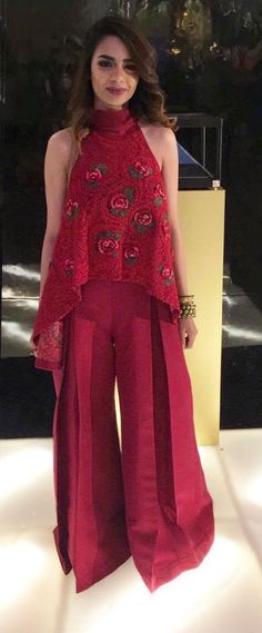 Chic red frock with plazo pants is always a yes Western Dresses, Western Outfits, Indian Dresses, Churidar, Anarkali, Lehenga, Pakistani Outfits, Indian Outfits, Kurta Designs
