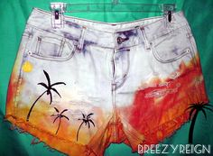 Hand painted cut off shorts hand painted palm trees- fun idea of what to do with worn out jeans. Cut them iff, bleach, dip dye and hand paint trees. Fun!