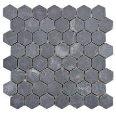 Floor tile for basement bathroom?  Merola Tile Crag Hexagon Black 11-1/8 in. x 11-1/8 in. x 9 mm Slate Mosaic Floor and Wall Tile-GDXCHXB at The Home Depot