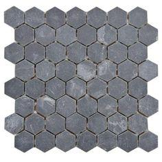 Slate hexagon tile flooring from Home Depot. Downstairs bathroom?