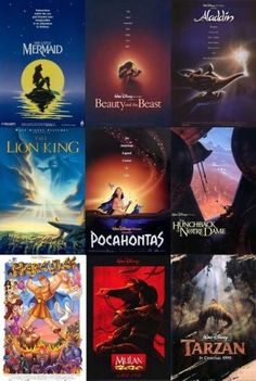 The Disney Renaissance: The Little Mermaid, Beauty and the Beast, Aladdin, The Lion King, Pocahontas, The Hunchback of Notre Dame, Hercules, Mulan, and Tarzan.