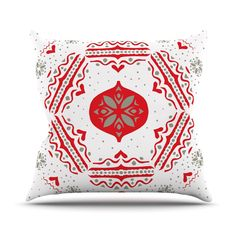 "Miranda Mol ""Snowjoy White"" Red Throw Pillow from KESS InHouse"
