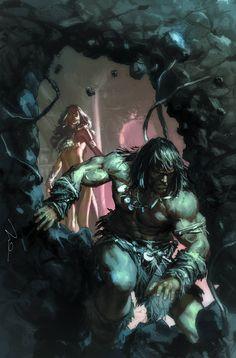 Conan & Red Sonja Art by Gerald Parel Darkhorse Comics, Red Sonja, Fantasy Artwork, Comic Books Art, Comic Art, Conan The Destroyer, Savage Worlds, Conan The Barbarian, Sword And Sorcery