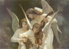 Angels Playing Violin painting by William-Adolphe Bouguereau