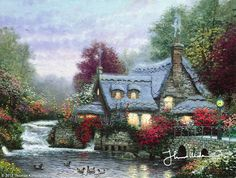 The Miller's Cottage, Thomashire This painting was executed directly from life with my easel planted precariously in the mud surrounding the ancient mill pond. As I sat observing the tranquil scene, I was amazed at how many people would visit the pond to throw bread and biscuits to the ducks and geese. Over the weeks I was at work, I, too, got in the habit of feeding the ducks and, in time, the more adventurous of these would regularly settle themselves in the shade beneath my easel.